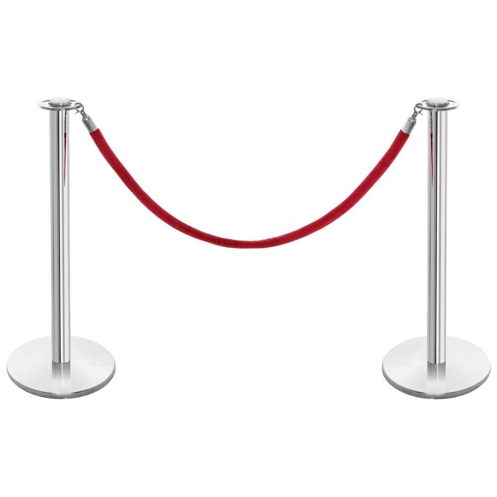 Polished Stainless Steel Barrier Posts & Red Velvet Rope Set Shopfitting Warehouse 0720201