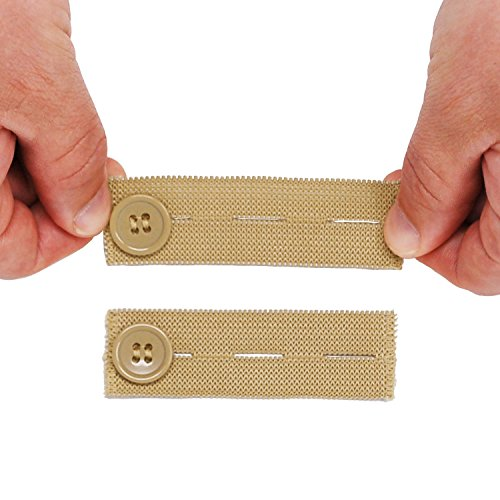 Elastic Waist Extender for Khakis (5-Pack in Khaki/Tan) - Strong Adjustable Pants Button Extenders by Comfy Clothiers