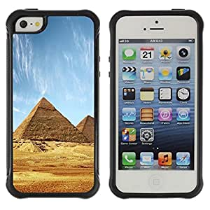 "Hypernova Defender Series TPU protection Cas Case Coque pour Apple iPhone SE / iPhone 5 / iPhone 5S [Arquitectura antigua pirámides de Giza""]"
