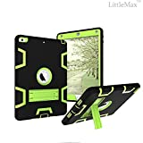 New iPad 2017 9.7 Case,LittleMax(TM) [High Impact] Kickstand Protective Case Daul Lay Robot Soft Gel Tough PC Apple New iPad 2017 9.7-Inch Cover[Free Cleaning Cloth Stylus Pen]-03 Black Green