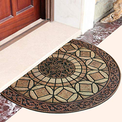 Eanpet Sassafras Doormat Outdoor Rubber Mat for Front Door Entrance Mat Indoor Entry Rug Shoes Scraper for Front Door Entrance Non Slip Dirt Trapper Mat Flocking Outside Doormat (Yellow Half Round)