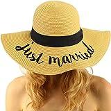 C.C Fun Verbiage Elegant Wide Brim 4 Summer Derby Beach Pool Floppy Dress Sun Hat Natural (JM)
