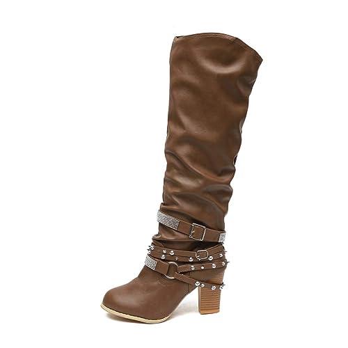 f83ffc76ff515b Damen Stiefel Leder Plateau High Heel Schlupfstiefel Hoch Langschaftstiefel  mit Blockabsatz Winter Schuhe Ankle Chelsea Boots