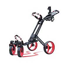 Red CaddyCruiser ONE-S one-click folding 4 wheel golf push cart with locking mechanism swivel front wheel