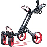 CaddyTek One-click folding 4 wheel golf push cart with Swivel front wheel, Red color
