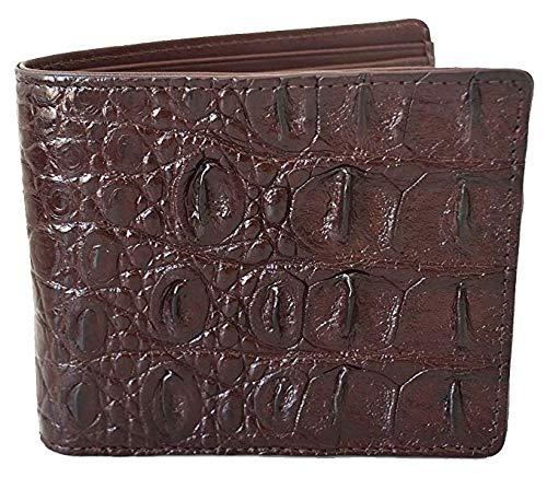 (Authentic M Crocodile Skin Men's Bifold Backbone Leather Dark Brown Wallet)