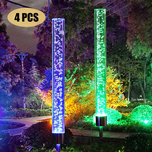 4pcs Garden Solar Lights Outdoor Solar Acrylic Bubble RGB Color Changing Solar Powered for Garden Patio Backyard Pathway Decorations