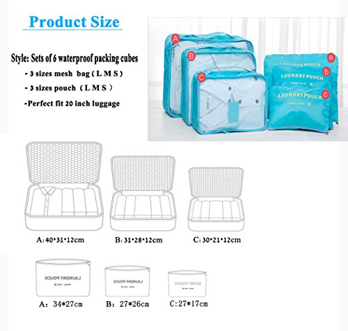 HongyuTing 6Pcs Waterproof Clothes Packing Cubes Travel Luggage Organizer Bag