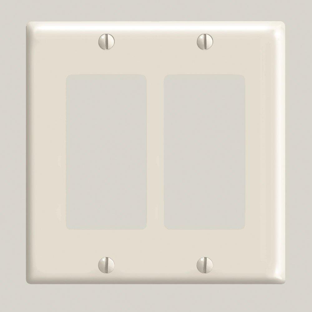 Leviton 80409-T 2-Gang, Decora/GFCI Device Wallplate, Standard Size, Thermoset, Device Mount, Light Almond
