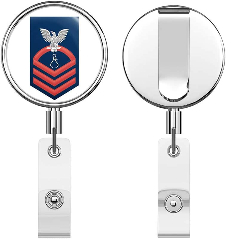 US Navy Chief Red E-7 Instrumentman IM Round ID Badge Key Card Tag Holder Badge Retractable Reel Badge Holder with Belt Clip