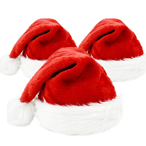 Christmas Santa Hat Funny Christmas Hat for Adults and Kids Plush Xmas Hat for Christmas Party Santa Hats 3 Pcs -