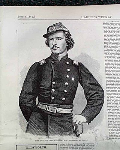 (A Civil War Winslow Homer print - Harper's Weekly, June 8, 1862 original, not a reprint - The Late Colonel Ellsworth - map of Seat of War)