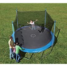 Trainor Sports 12-feet Round Trampoline & Enclosure Combo   Heavy Duty Bouncy Outdoor/Backyard Trampoline for Children (6+), Adults   Jumping Mat and Full Coverage Spring Padding