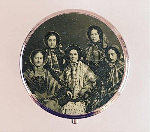 Victorian Women Pill box Pillbox Case Holder Stash Box Antique Ambrotype Photograph