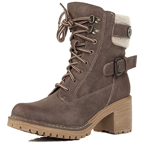 Brown Heel ABSINTHE SPYLOVEBUY Lace Leather Boots Ankle Combat Up Military Block Pumps Style Women's PUg0qUAF