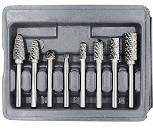 YUFUTOL Carbide Burr Set with 1/4''(6.35mm) Shank 8pcs Double Cut Solid Carbide Rotary Burr Set for Die Grinder Drill, Metal Wood Carving, Engraving,Polishing,Drilling ()