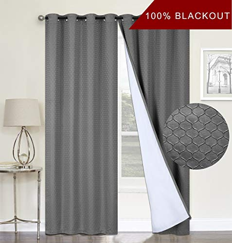 100% Blackout Curtains,Grey Double Layer Lined,Heat and Full Light Blocking Drapes with White Liner for Nursery, 96 inches Drop Thermal Insulated Draperies (Charcoal Grey, 52