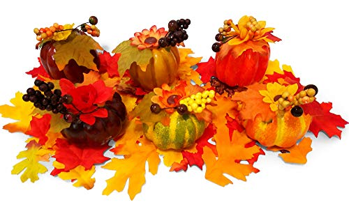 - Plastic Pumpkins and Leaves for Decorating, Set Includes 6 Pumpkins and 75 Autumn Leaves, 81 Pieces
