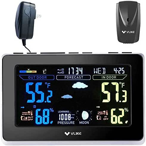 VLIKE VL1003 Atomic Weather Station with Outdoor Sensor for Home Office Use VA Screen Color Display Dual Alarms Indoor/Outdoor Temperature and Humidity Moon Phase