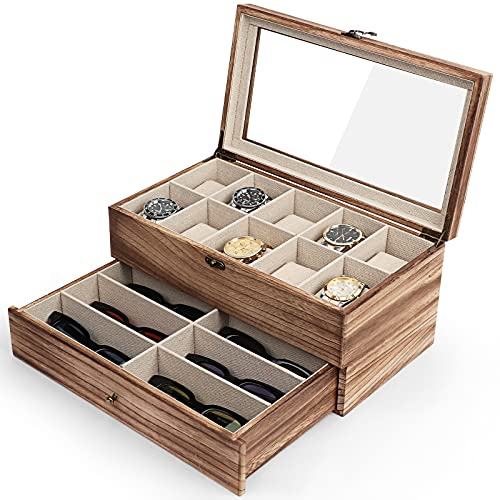 Meangood Watch Box Case, Sunglasses Holder for Men Women, 16 Slot 2 Tier Large Premium Wood Organizer with Glass Top, Rustic Style Torched Wood
