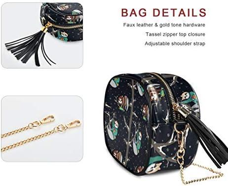DXG1 Petit sac à main léger en bandoulière pour femme avec pompons