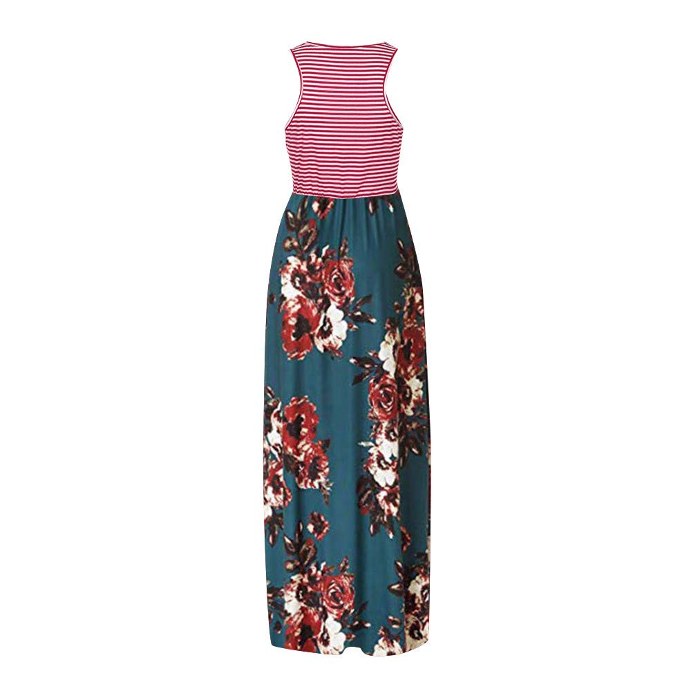 Women's Sleeveless Loose Printed Vacation Days Maxi Dresses Casual Long Dresses with Pockets by GreatGiftList (Image #2)