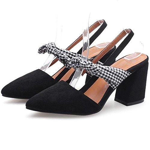 Black Block Sandals TAOFFEN Women 7 Shoes Heel Slingback 7fOYfwnq1B