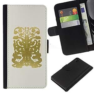 Sony Xperia Z4 / Sony Xperia Z4V / E6508 Modelo colorido cuero carpeta tirón caso cubierta piel Holster Funda protección - Gold Abstract Pattern Drawing Beige