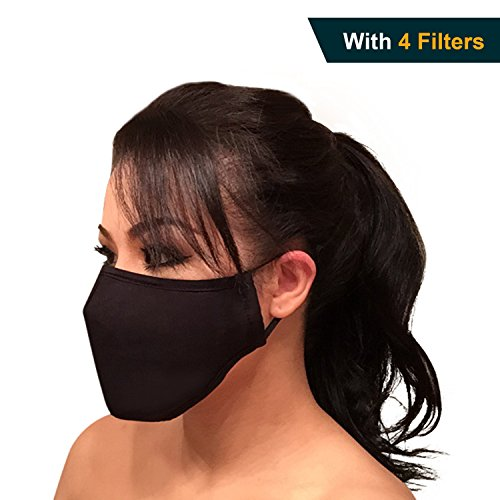 Black N95 Respirator Dust proof Mask w/ Activated Carbon Filtration Multi-Layer Protection from Exhaust Gas Anti Pollen Allergy Washable Environmentally Friendly PM2.5 Half Face Mask Men Women Kids