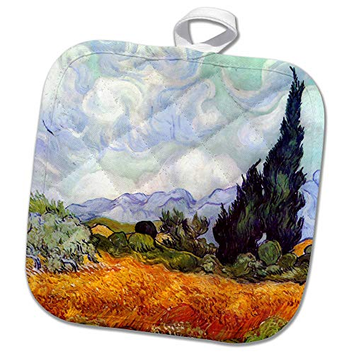 3drose Wheat Field With Cypresses By Vincent Van Gogh 1889 Wheatfield Cornfield Trees Fine Landscape Potholder 8 X 8 Amazon In Home Kitchen