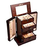 DTOFREE Wood Minimal Armoire Jewelry Chests Accessory Storage Cabinet