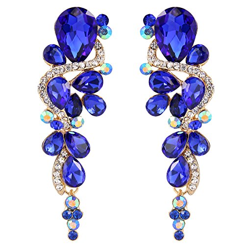 angle Earrings for Women Wedding Bridal Bohemian Boho Crystal Multiple Teardrop Chandelier Long Earrings Royal Blue Sapphire Color ()