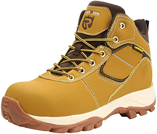 JLED Mens Steel Toe Work Boots, LM-115 Safety Shoes Slip Resistant Anti Smashing Puncture Proof Footwear (10.5, Khaki-Black) by JLED