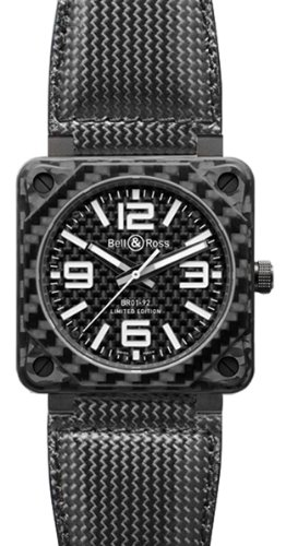 Bell and Ross Aviation Carbon Fiber Black Dial 46 MM Automatic Mens Watch BR-01-92-CARBON-FIBER - 92 Automatic Carbon