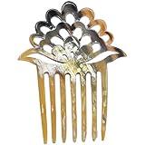 Marycrafts Light Shade Lotus Flower Buffalo Horn 7 Prongs Hair Fork, Hair Side Comb, Hair Pin, Hair Accessory Toy Handmade