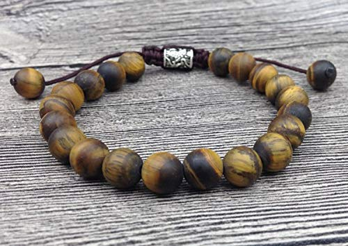 (Gabcus YA2465 Tiger Eye Amazonite Stone Beads Bracelet Tibetan Charms Men Healing Bracelet Cord Knot Adjustable 7-8mm 6.5inch Long - (Metal Color: Tiger Eye))