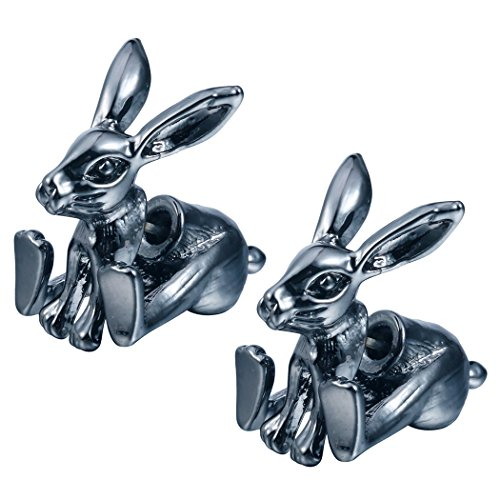 Element Clip Earrings (Bunny Rabbit Posts Studs Tiny Mini Stainless Steel Posts and Backs Single Piercing Earrings Black)