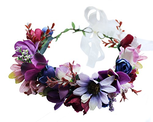 Vivivalue Floral Halo Boho Flower Headband Floral Crown Headpiece Hair Wreath with Ribbon Wedding Party Prom Photos Festival - Ribbon Collar Dog Adjustable