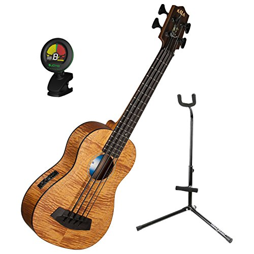 Kala U BASS EM FS Exotic Mahogany U Bass Short-scale Acoustic-Electric Bass Ukulele with Tuner and Ukulele Stand by Kala