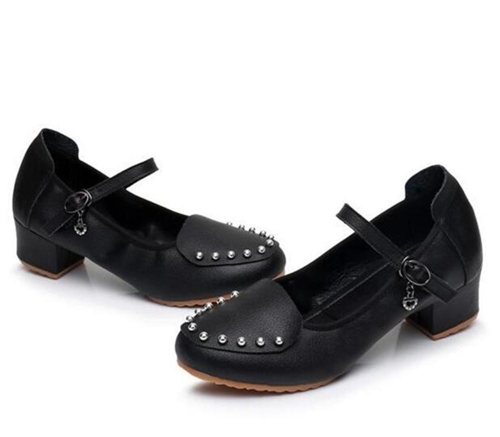 Noir Femmes Chaussures de danse en cuir Salle de bal Soft Sole Jazz Dance Pumps Tribunal Taille 36To40 EU37