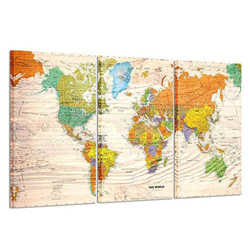 Kreative Arts 3 Pieces Canvas Prints Wall Art Travel World Map Poster Vintage Wood Style Modern Wall Decor Stretched Gallery Canvas Wrap Giclee Print Ready to Hang 20x36inchx3pcs (Wood Style Map) Vintage Look World Map