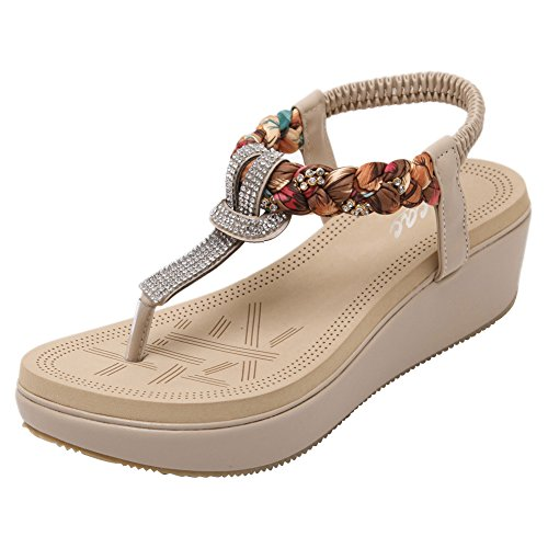 Zicac Women's Bohemia Slingback T-Strap Rhinestone Sandals Flats Shoes Apricot
