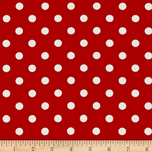 (Fabric Liverpool Double Knit Polka Dot Fabric, Red/Ivory, Fabric By The Yard)