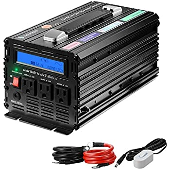 Novopal 1500 Watt Pure Sine Wave Power Inverter 3 AC Outlets DC 12v to AC 120v with Remote Control, Big LCD Display( Surge 3000W) -Black