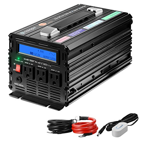 Novopal 1000 Watt Pure Sine Wave Power Inverter 3 AC Outlets DC 12v to AC 120v with Remote Control, Big LCD Display( Surge 2000W) by novopal