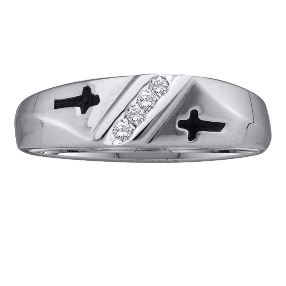 10kt White Gold Mens Round Diamond Single Row Cross Wedding Band 1/20 Cttw by Saris and Things