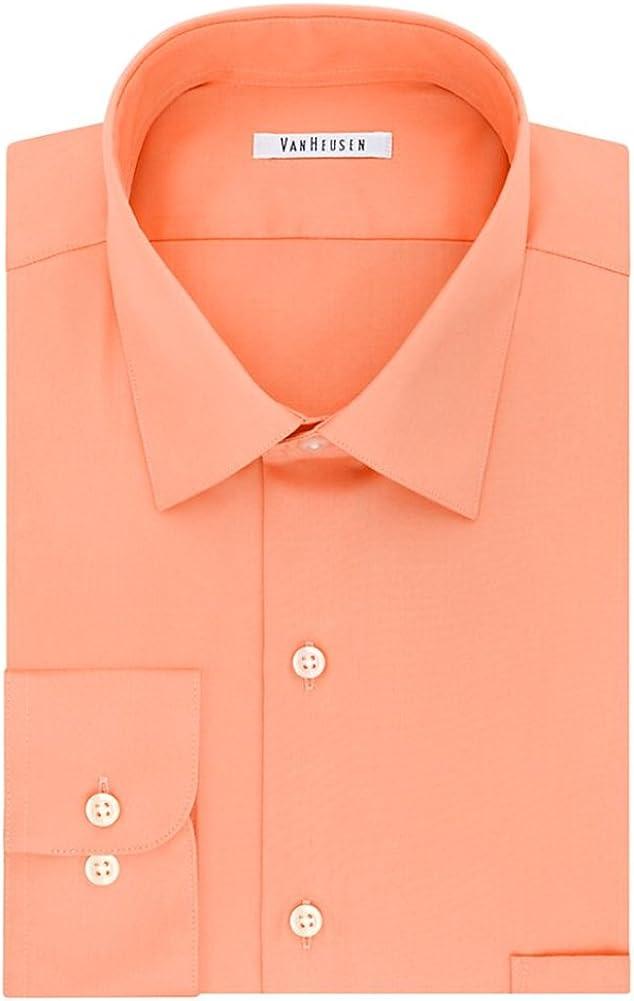 Van Heusen Mens Big /& Tall Regular-Fit Solid Lux Sateen No-Iron Dress Shirt