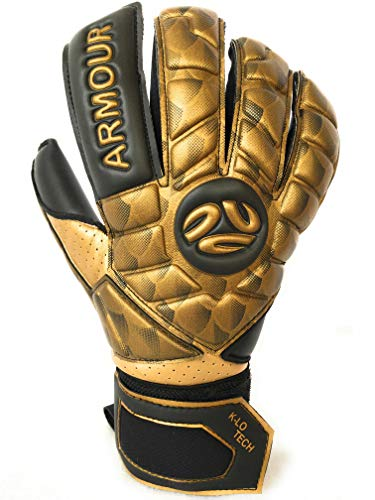 FINGERSAVE Goalkeeper Gloves by K-LO - The Armour Goalie Glove Has Fingersave Protection in All 5-Fingers to Prevent Injury & Improve Shot Blocking. Super Sticky Palms. Youth & Adult Sizes Gold - Kids Goalie Gloves