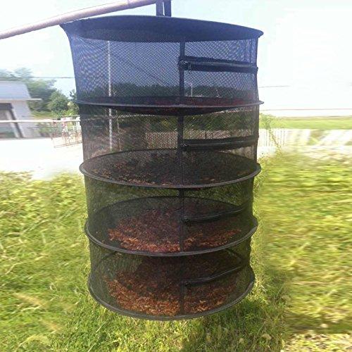 LANDUM Dry Net Collapsible 4 Layer Mesh Hanging Herbal Bud Plant Clothes Drying Rack Black