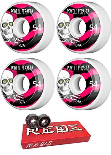 Powell-Peralta 54mm Ripper White/Black/Red Skateboard Wheels - 97a with Bones Bearings - 8mm Bones Super Reds Skate Rated Skateboard Bearings - Bundle of 2 Items